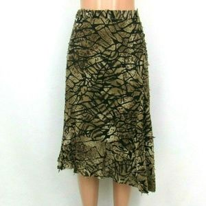 Chico's Animal Print Asymmetrical Midi Skirt